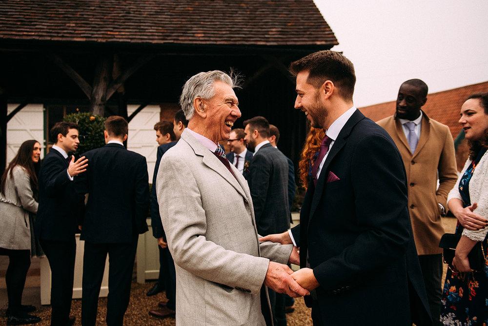 Groom greeting his grandfather