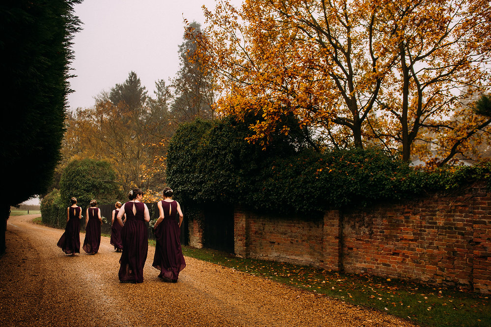 bridesmaids walking to the ceremony