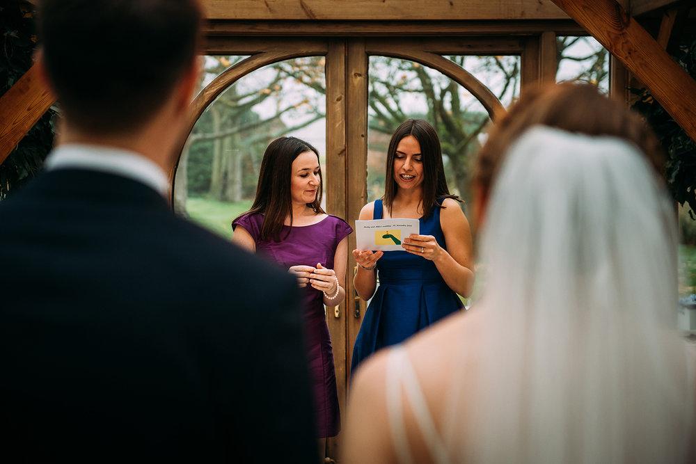 bridesmaids giving a reading
