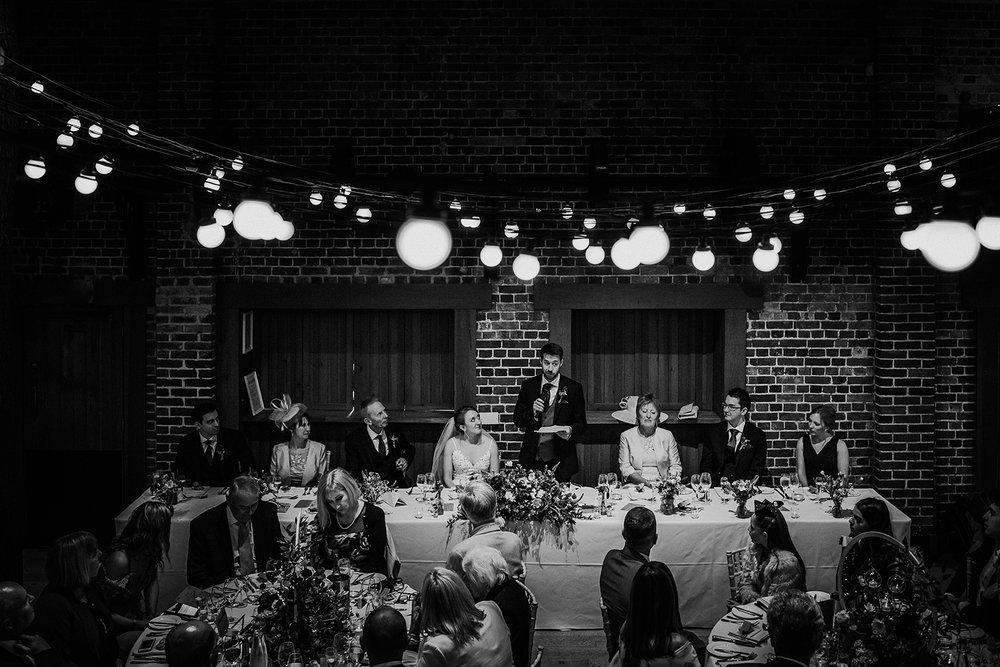 BW photo, groom speech