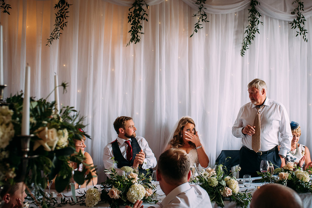bride emotional during her fathers speech