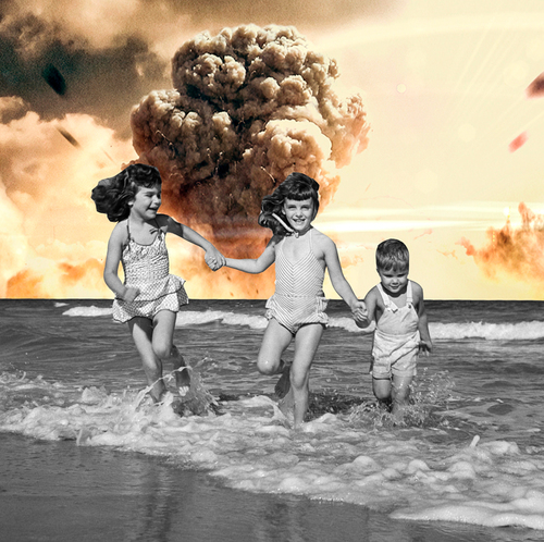 "Carly Foulkes @CARLYFOULKES  KABOOM , 2016 Digital collage     Foulkes' ""Kaboom"" presents us with a composite that is at once both nostalgic and tragic. We are moved to look back upon a time often remembered wistfully—and thus, paradoxically—as the ""Atomic Age,"" while coming face-to-face with the reality that such an image could very well loom on our own horizon. In so doing, Foulkes brings to question the conception of nuclear fallout as a relic belonging to a bygone era. The Atomic Age might have passed, but threat of nuclear weapons has not."