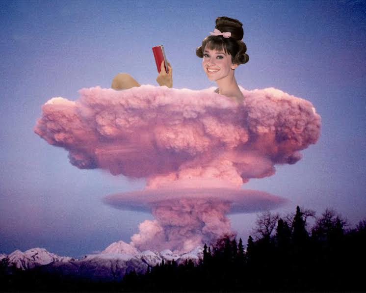 "Johnny Smith @thejohnnysmith  Bombshell,  2016 Digital image  ""I came across a photo of an atomic bomb explosion, which is a horrifying image to ever look at. I felt that there was a softness, almost a fluffy silkiness in the pink clouds of the explosion, that in a different context, may look relaxing, inviting and beautiful. Thus the contrast in having Audrey Hepburn, smiling and looking at the viewer with a bewitching ease, reading a book and cozied in a warm bubble bath, that is in fact, a nuclear explosion and the complete antithesis of serenity."""