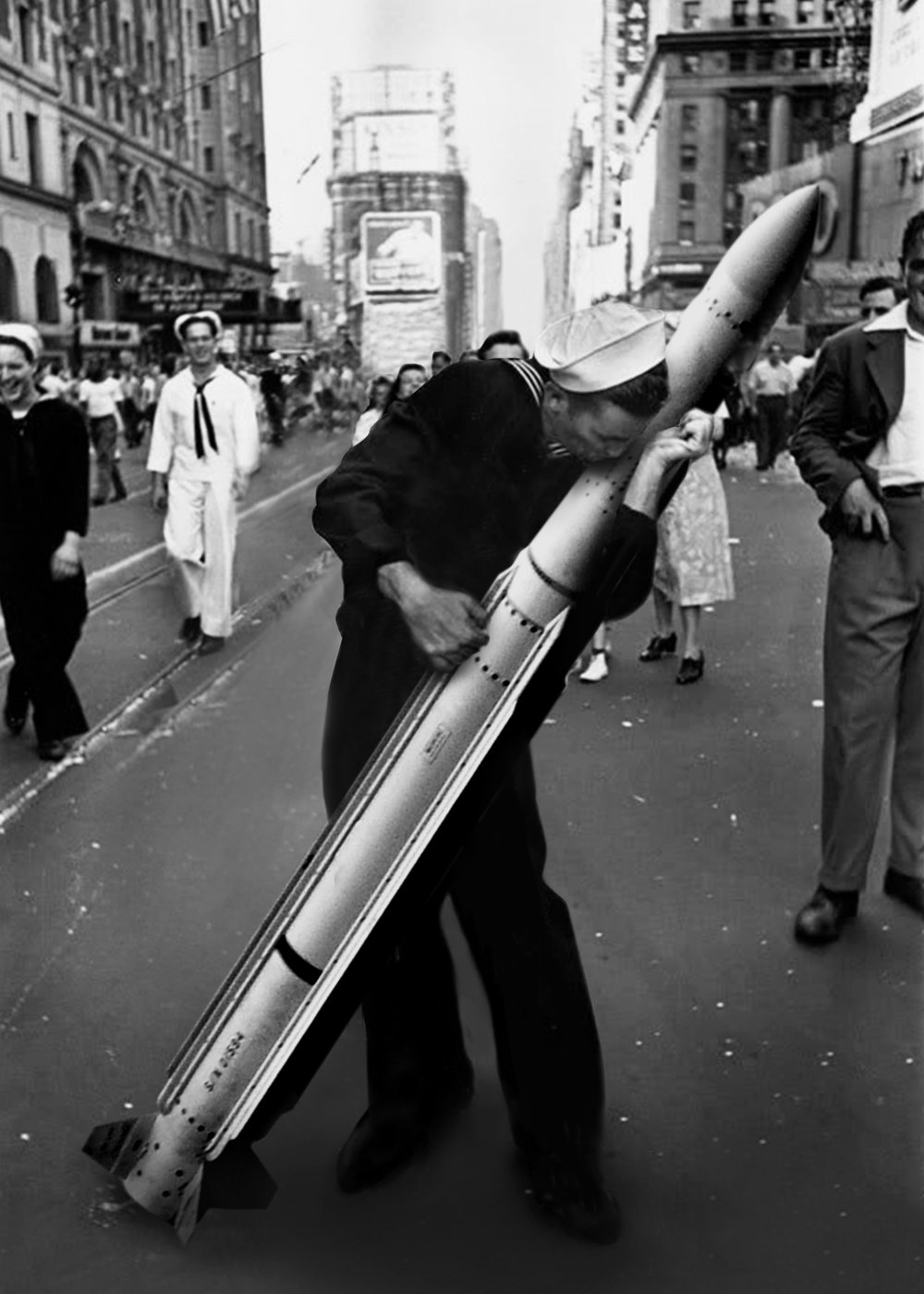 "Francesco Vullo @fra_vullo  I love you so,  2016 Digital image    ''I love you so'' tells the story of a needed love between a man and a weapon. A love worth thousands of lives. The artwork is a remake of the iconing picture (V-J Day in Times Square, by Alfred Eisenstaedt 1945) showing the other face of war: indifference. Taking a closer look at the depersonalization of the individuals in today's society. The piece's sense can be summarized by Dr. Strangelove's claim: ""How I learned to stop worrying and love the bomb"""
