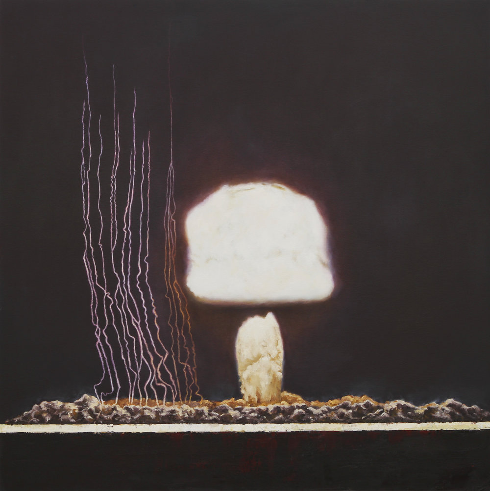 Hugh Ramage   @hughramage   Moth,  2014 Oil on Canvas  This painting is a portrayal of one the nuclear bomb tests in the Nevada desert which was titled Moth. The title also refers to the allure of nuclear research at the time and the quest for the ultimate weapon.