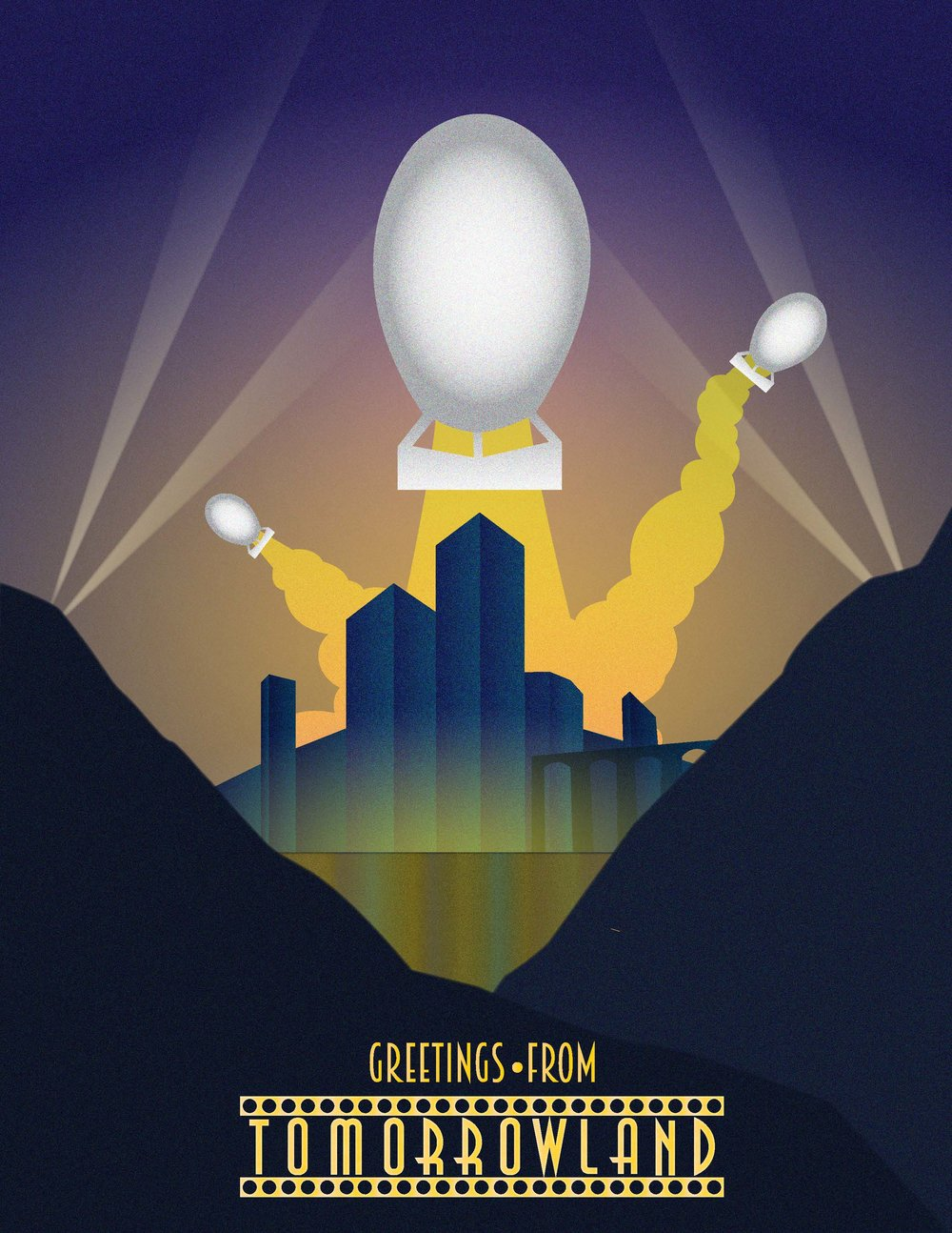 "Wyatt Welles   @wyattseesthings   Love the Bomb,  2018 Digital Image  For this illustration, Wyatt Welles wanted to reference the art deco cityscape posters that, for a time, epitomized the hope of a technologically advanced metropolis that would ultimately increase the quality of life.   ""I combined this art-deco style with a nod to the Disney utopia, 'Tomorrowland,' in an effort to wonder what the tone of nuclear destruction may be after the fact,"" explains Welles. ""One day, will we celebrate nuclear warfare for the advantages and safety they could provide us? Are we doing this already?"""