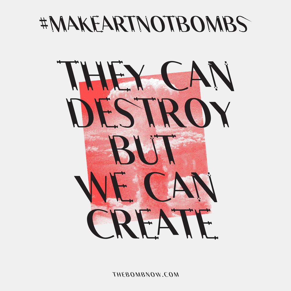 Constantin Demner   @studioelastik   Make Art Not Bombs II,  2016 Digital Illustration  For the bomb's artist initiative, Constantin Demner created a bespoke experimental, typeface - LSTK GRETE.   studioelastik.com is a traveling visual art & communication studio with its HQ in Vienna, Austria.