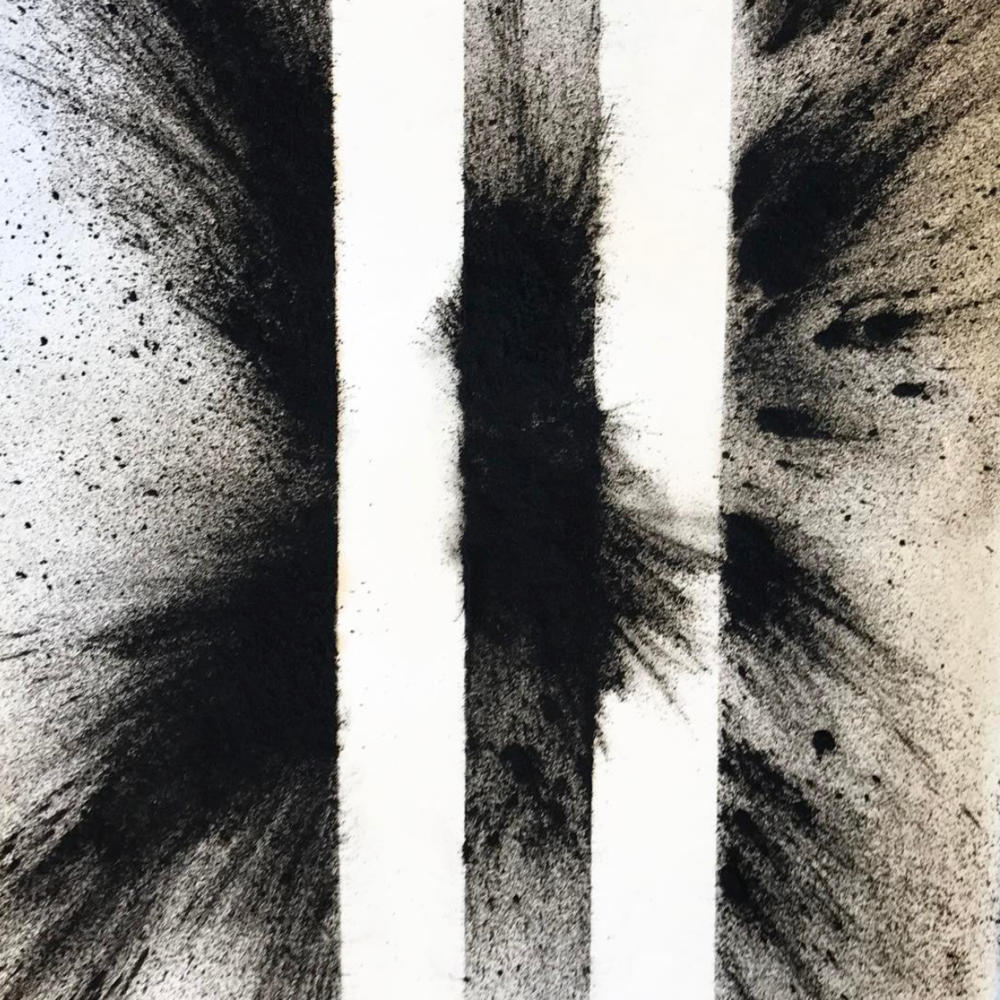 "Aoife van Linden Tol   @aoifetol   Sketches with Charcoal Powder,  2017 Charcoal Power on Paper  For artist Aoife van Liden Tol, explosions are a force of nature.   ""Everything we invent comes from processes we discover in the universe,"" says van Liden Tol. ""We invent ways to create and control these processes. We then have a choice about how we use them. If I can make art with bombs then I am demonstrating our ability to use our most powerful inventions, forces and tools for beauty, goodness and empathy."""
