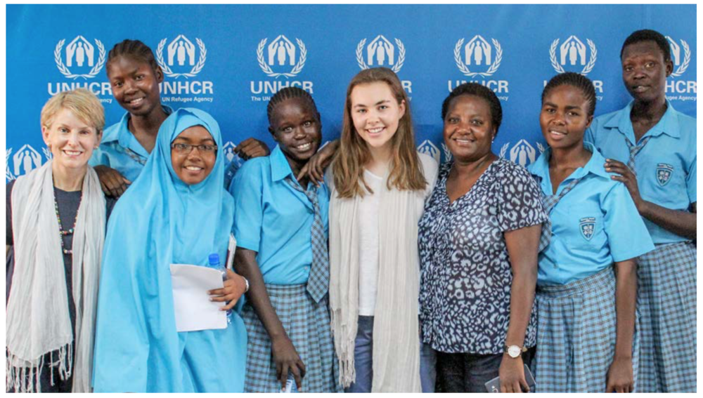 Left to right: Nancy McCain, Adut Dau, Lula Abdulkhadir Modhar, Esther Nyakong, Clare Morneau, Irene Kinyanjui, Christine Bachoke, Sarah Nyajuok Gik. image Storey Wilkins