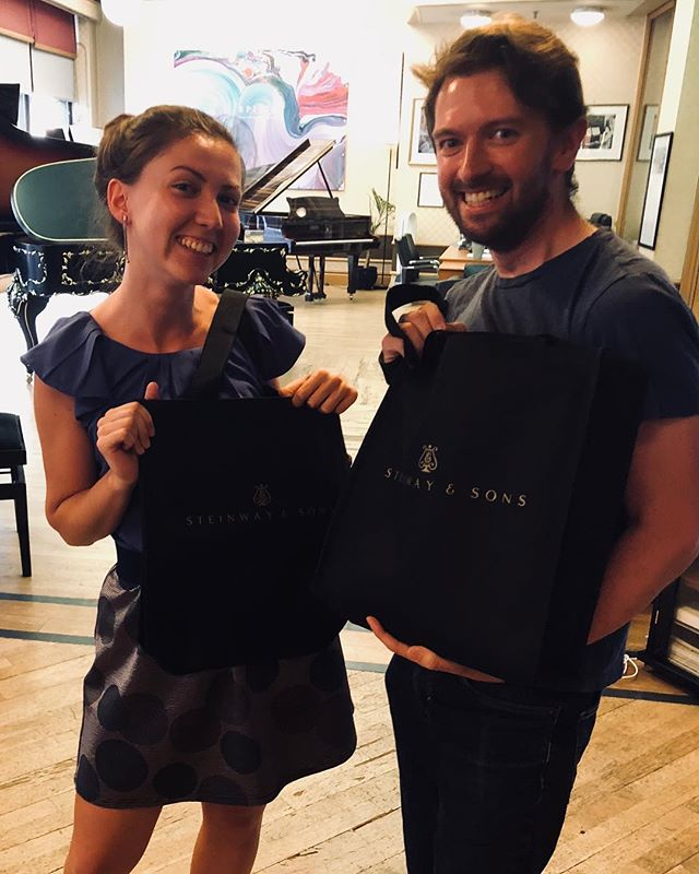 Rehearsing with @marinastaneva for some filming for @classicfm tomorrow & the lovely people @steinwayhalluk gave us these groovy new bags!