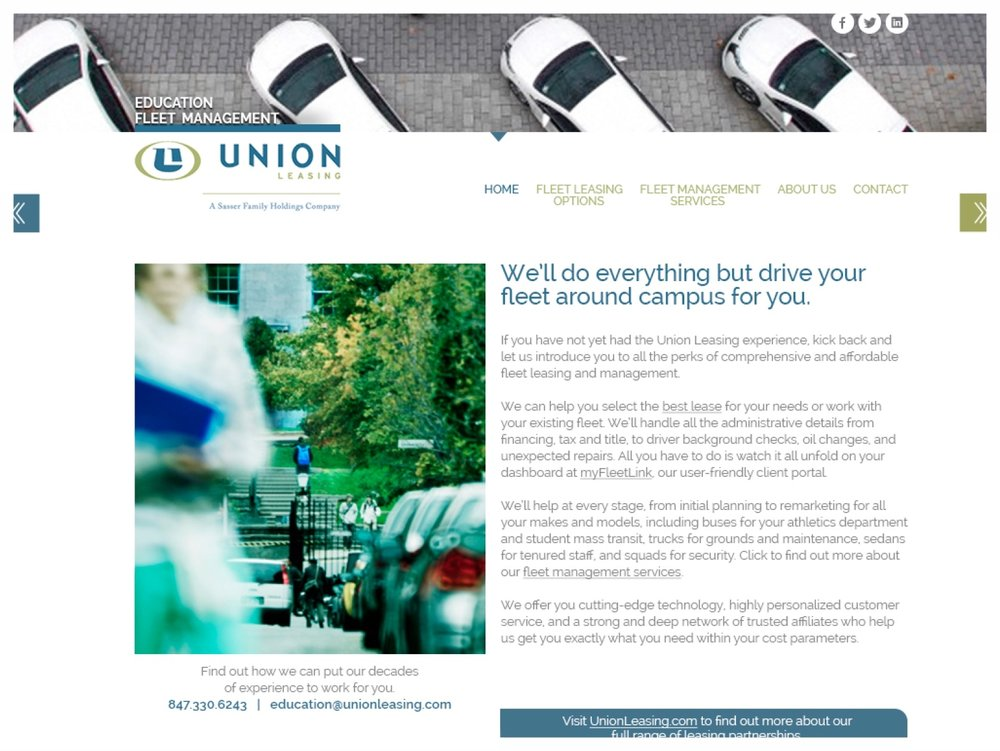 Union Leasing:  targetted microsite for specialized market segment
