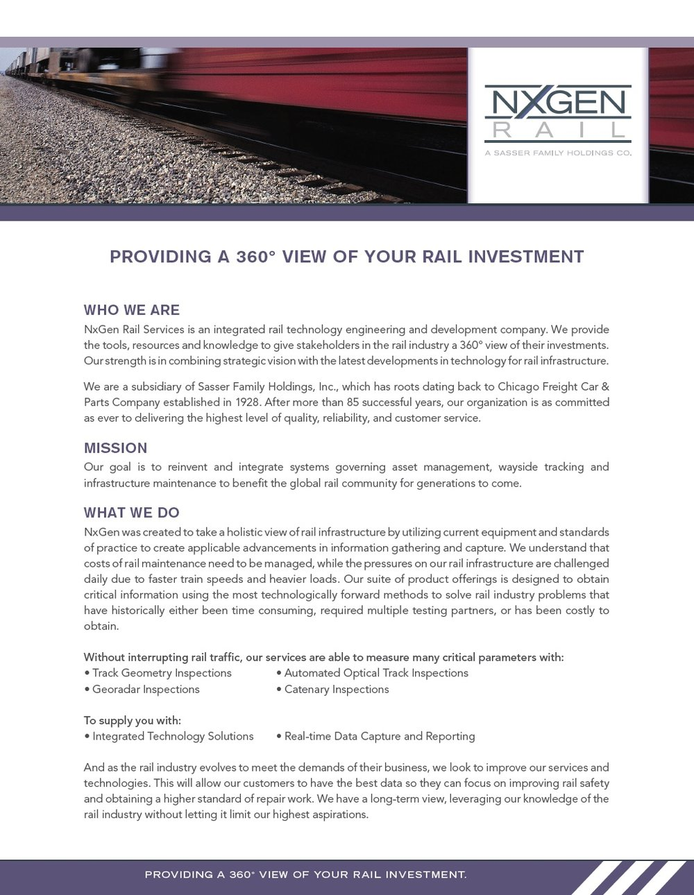 NxGen rail:  track inspection services sell sheet