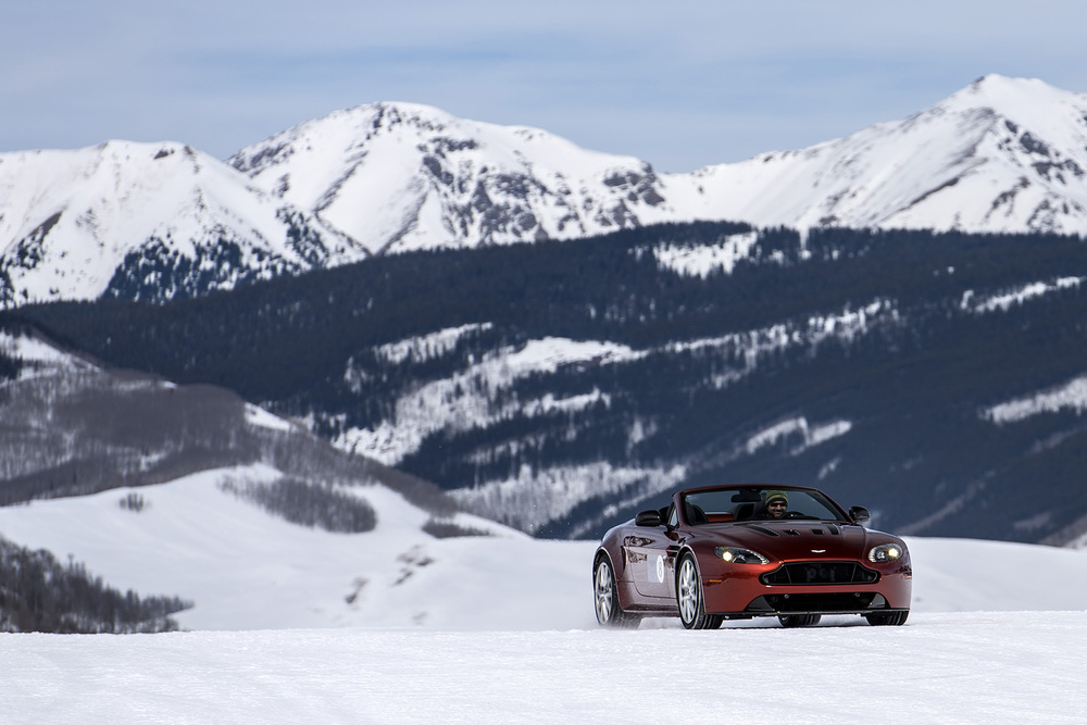 Behind the wheel of an Aston Martin in Crested Butte, Colorado. (Photo: Aston Martin)