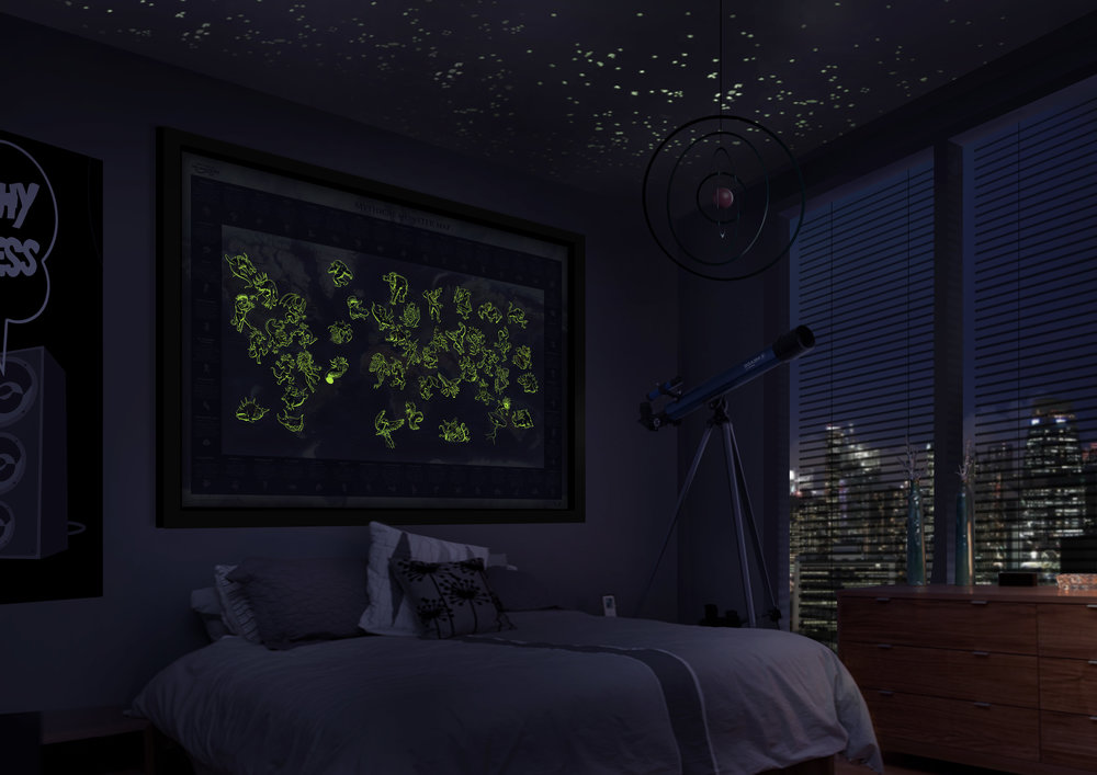 Perfect For A Childs Bedroom The Glow In Dark Monster Map Come To Life At Night