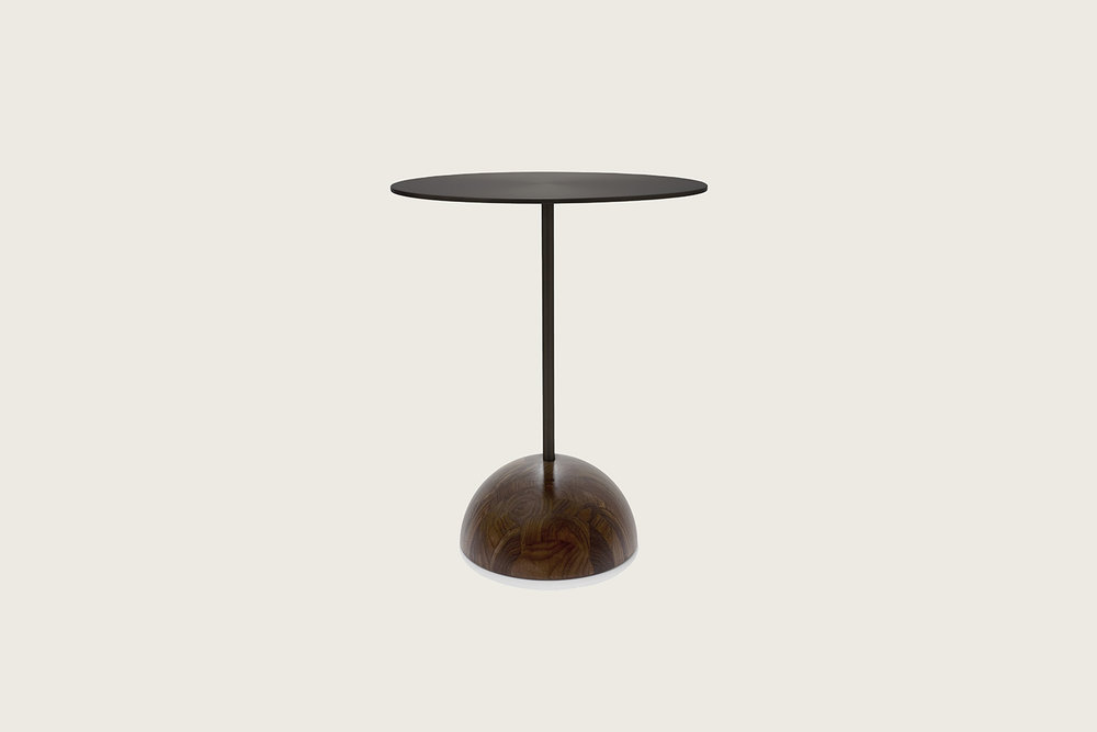 Luna Side Table in walnut with matte black top - Speke Klein