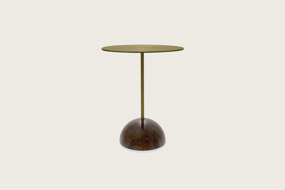 Luna Side Table in walnut with matte bronze top - Speke Klein