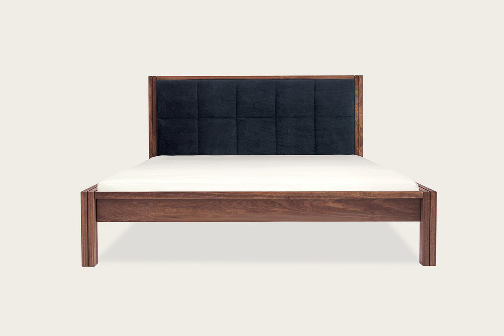 Petits Fours Bed in walnut with upholstered headboard - Speke Klein