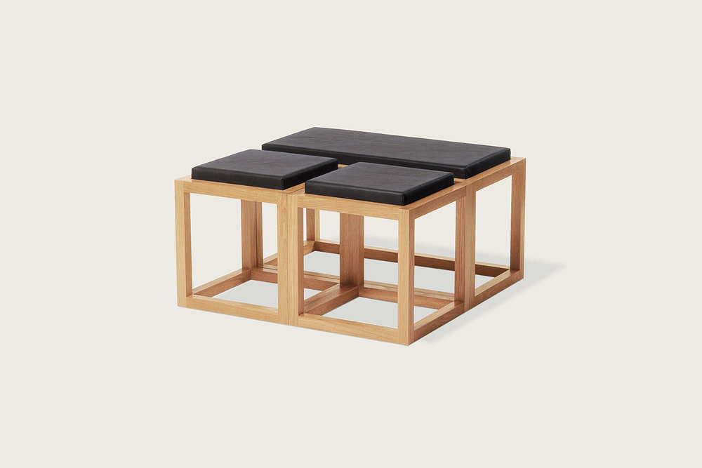 Petits Fours Modular Coffee Tables in oak with upholstered top - Speke Klein