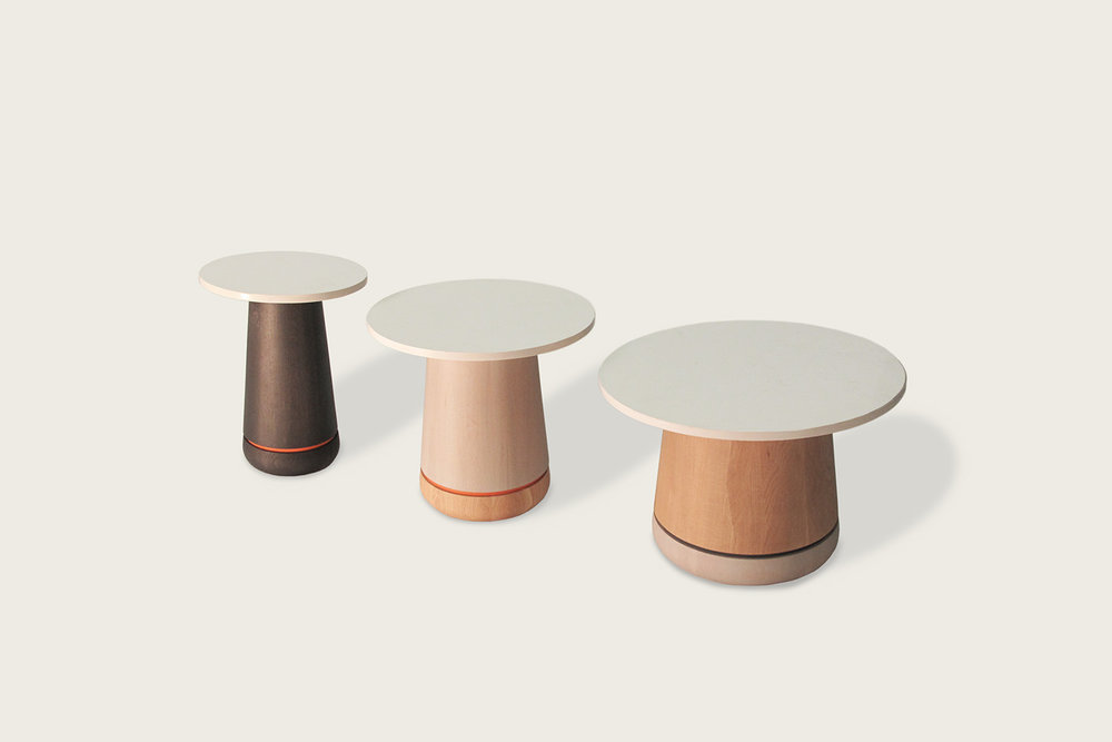 Phase Cocktail Tables in oak with quartz top - Speke Klein
