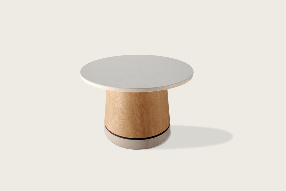 Phase Cocktail Table in oak with quartz top - Speke Klein