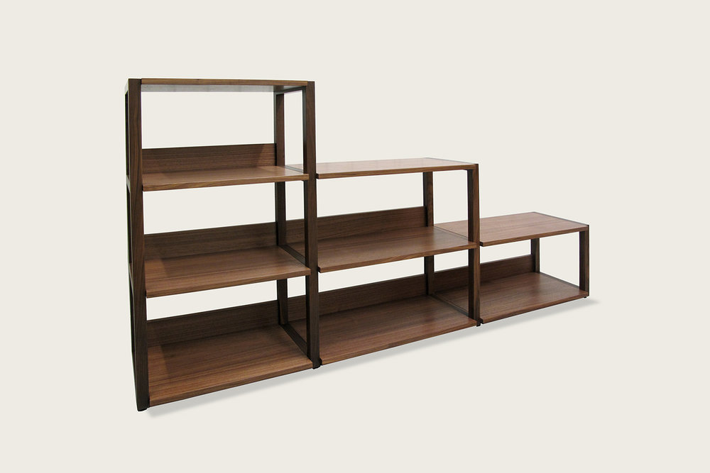 Strata Shelving Unit - 4-tier, 3-tier, 2-tier in walnut - Speke Klein