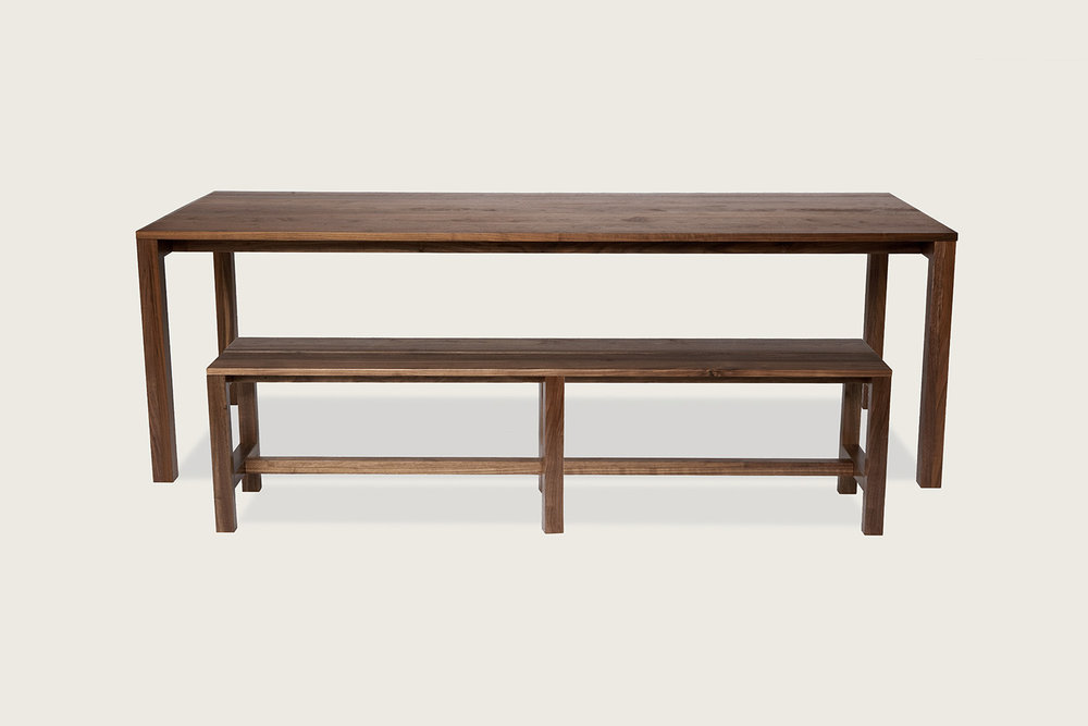 Quinn Bench in solid walnut, shown with Quinn Table - Speke Klein