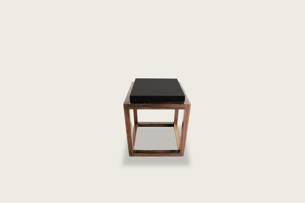Petits Fours Side Table in walnut with upholstered top - Speke Klein