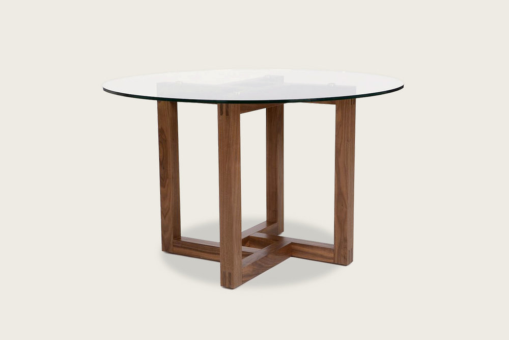 Canto Table in solid walnut with glass top - Speke Klein