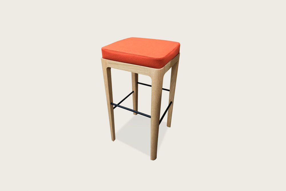 Vista Bar Stool in oak with upholstered seat - Speke Klein