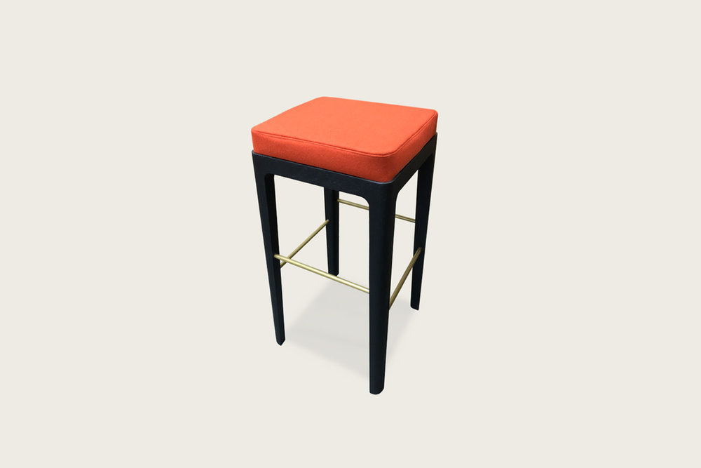 Vista Bar Stool in Black oak with upholstered seat - Speke Klein