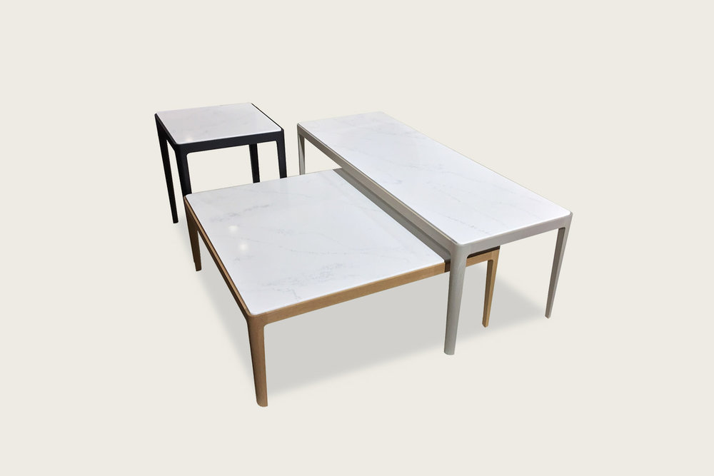 Stadia Coffee Tables in solid oak with quartz tops - Speke Klein