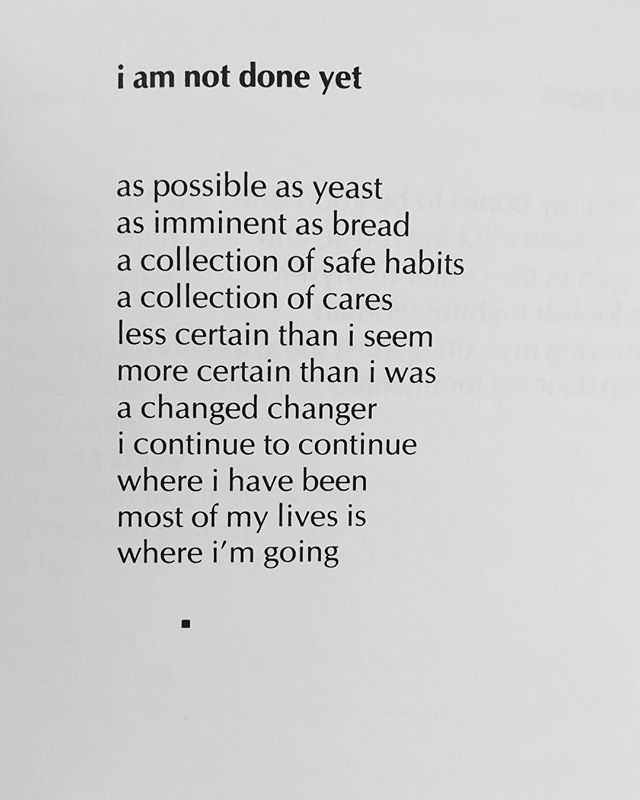 """i am not done yet"" by Lucille Clifton. •  #broadsideprint #narrativefeminsm #sundaystory"