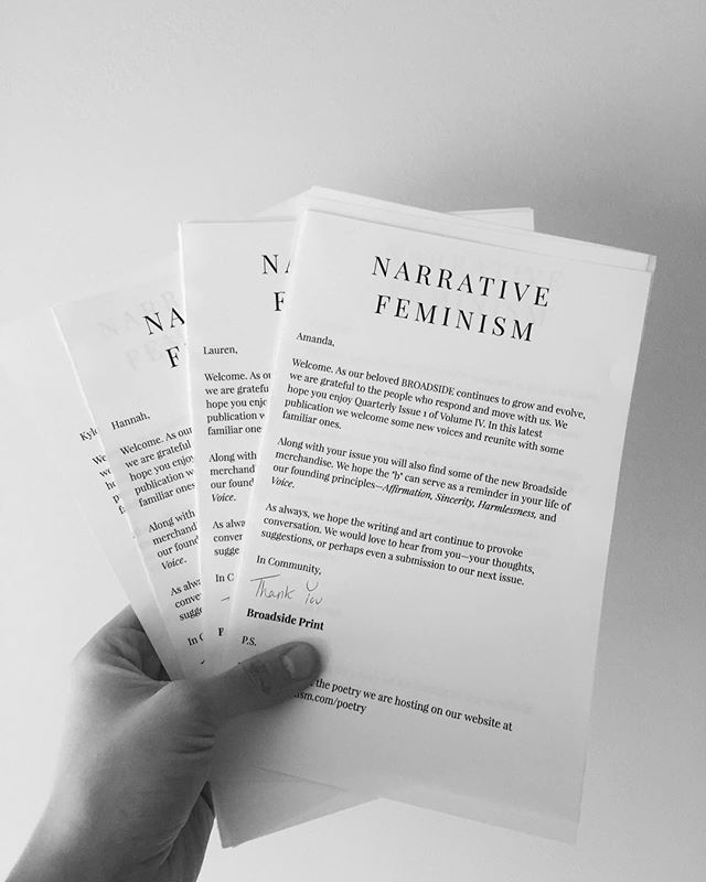 Notes of gratitude going out to our subscribers with the Q1 issue.   It's not too late to subscribe • Link in profile.  #narrativefeminism #broadsideprint #lylas