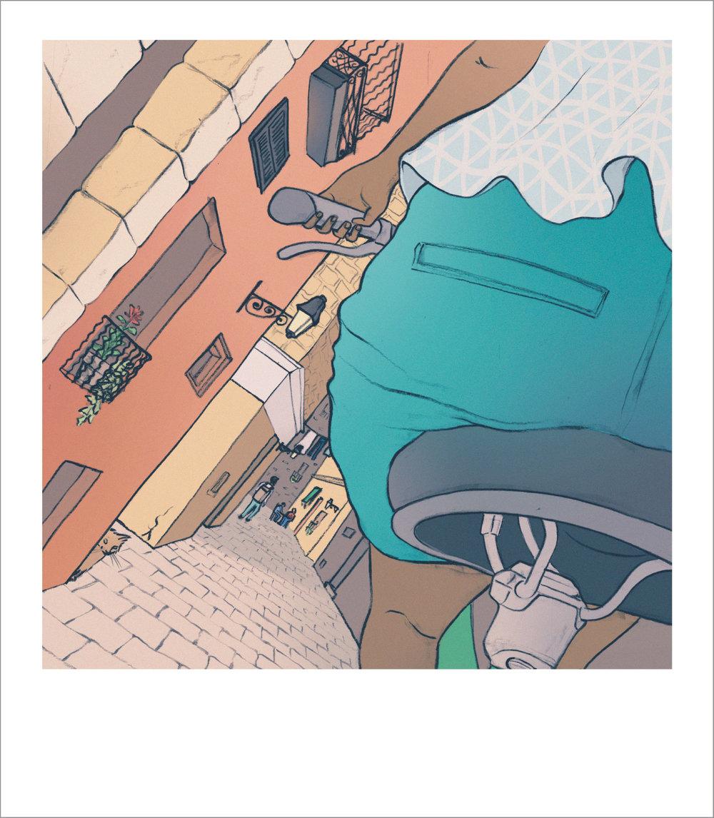 Runaway Brain Postcard Series: Rear view in Barcelona