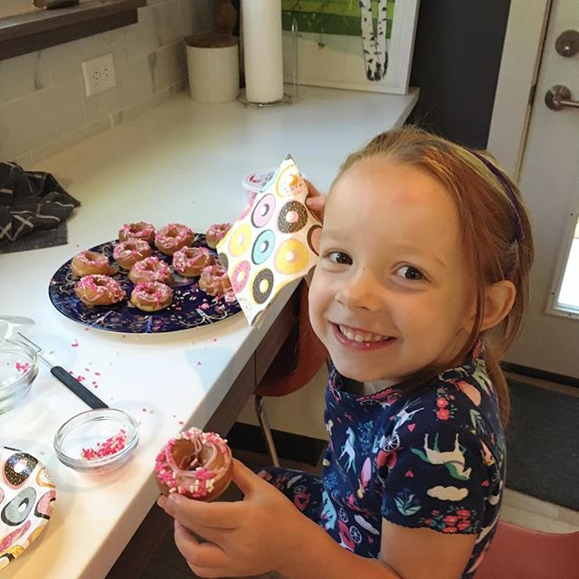 Would have broken out her donut maker sooner if I had known they would come out so good!  Can't wait until she forgets about them so I can house the whole pile.  #timetomakethedonuts