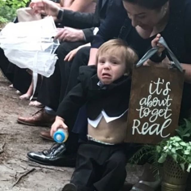 Jack's night as a ring bearer. Cried his way down the aisle, drank through the night, slept it off.  He did great.