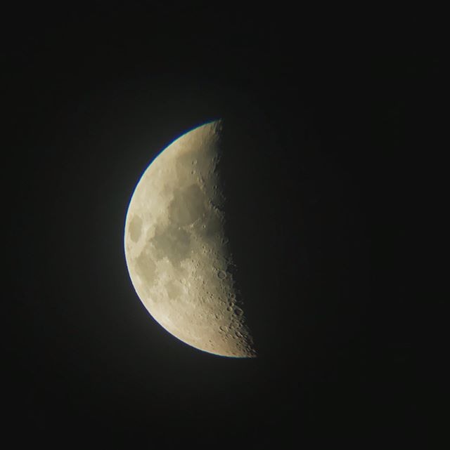 My little Mighty girl asked for a telescope and of course, got it! I took this pic through the lens with my iPhone tonight! I'll love exploring the galaxy with her 🌗
