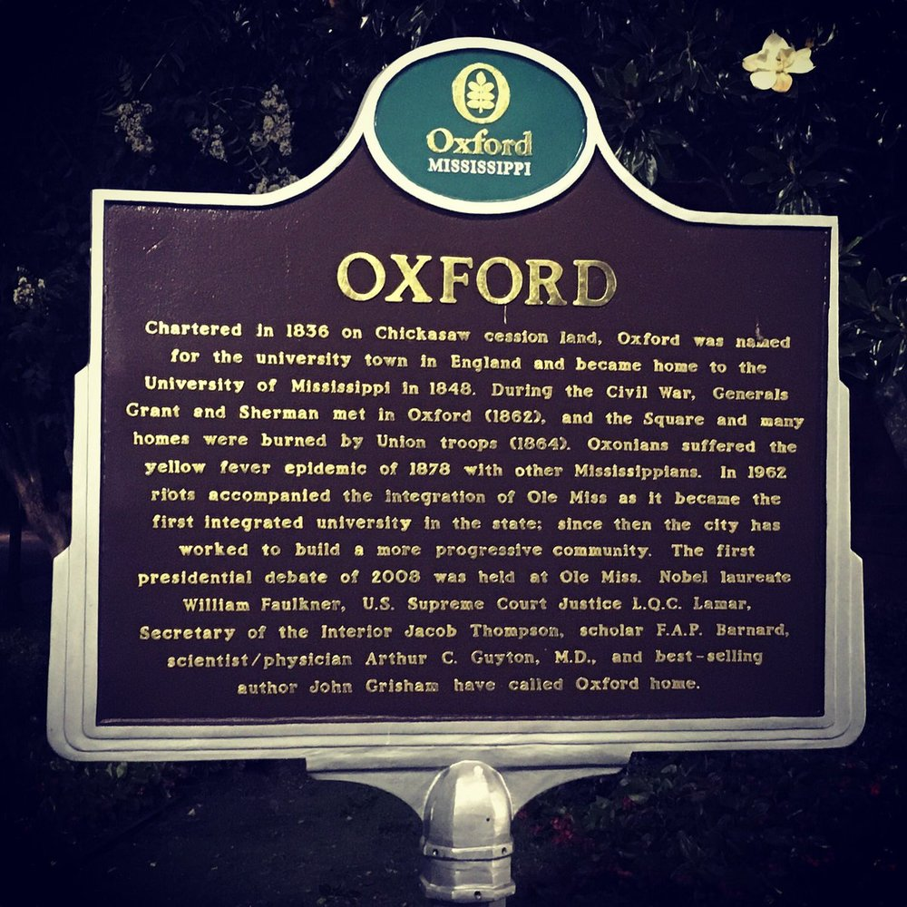 Historical marker, downtown Oxford, Mississippi. Chickasaw land.