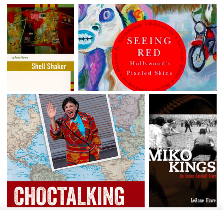 From top right:  Shell Shaker ,  Seeing Red, Pixeled Skins: American Indians and Film, Miko Kings: An Indian Baseball Story,  and  Choctalking on Other Realities .