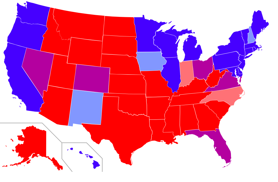 Map of red states and blue states in the U.S. Red=The Republican candidate carried the state in all four most recent presidential elections (2000, 2004, 2008, 2012). Pink=The Republican candidate carried the state in three of the four most recent elections. Purple=The Republican candidate and the Democratic candidate each carried the state in two of the four most recent elections. Light blue=The Democratic candidate carried the state in three of the four most recent elections. Dark blue=The Democratic candidate carried the state in all four most recent elections.  Image via Wikimedia Commons, author Angr.
