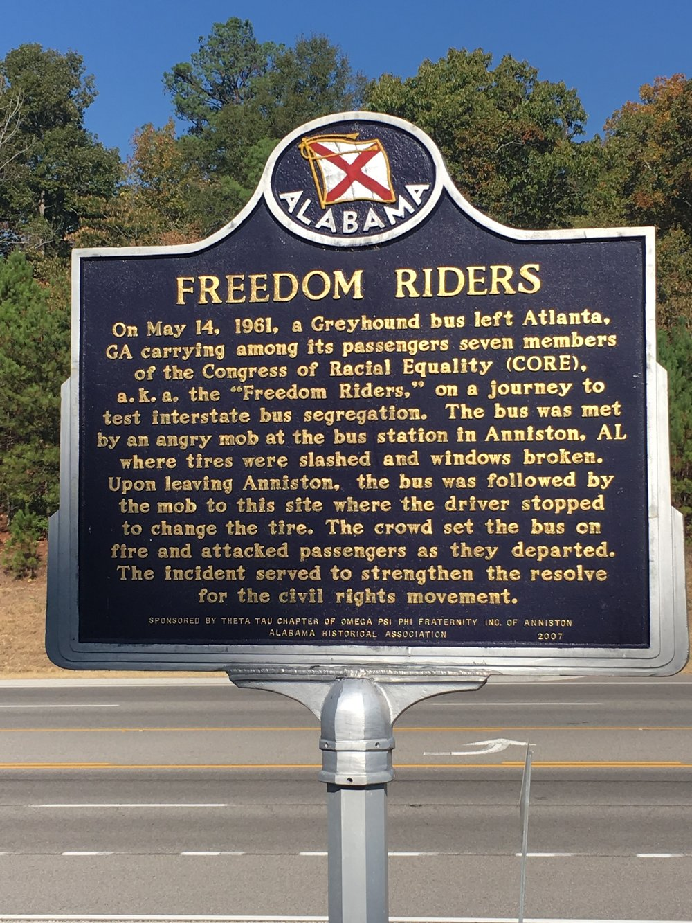 The historical marker at the bus burning site.