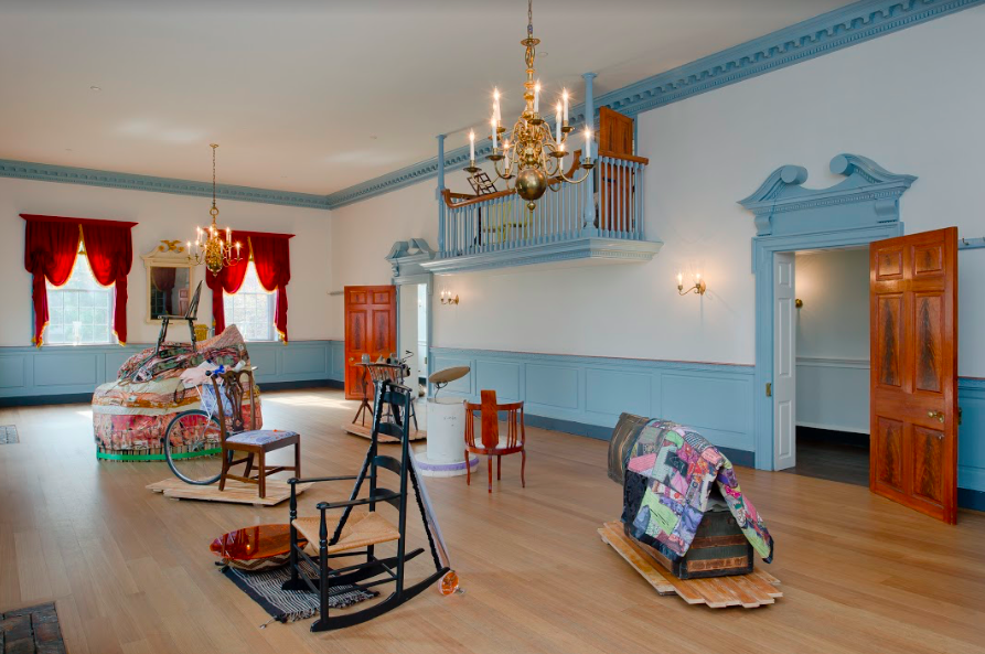 "Installation view of ""A Particular Provenance"" in Gadsby's Tavern Museum Ballroom.       Photo by Vince Lupo."
