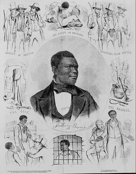 A portrait of the fugitive slave Anthony Burns, whose arrest and trial under the Fugitive Slave Act of 1850 touched off riots and protests by abolitionists and citizens of Boston in the spring of 1854.