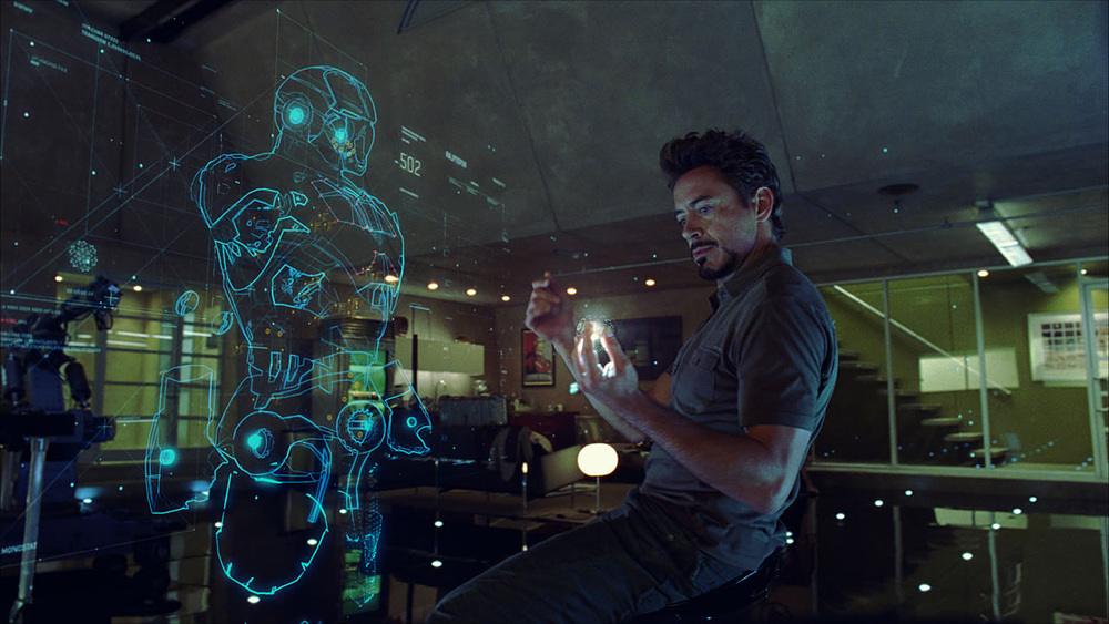 Robert Downey Jr. uses direct manipulation on a volumetric projection.