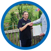 Rachel Pritchard worked as a volunteer at the farm for 4 years before we took her on as a member of staff. She completed her Level 2 Diploma in Health and Social Care last summer, and is a good 'all rounder' as well as working with Jon as a qualifications tutor.