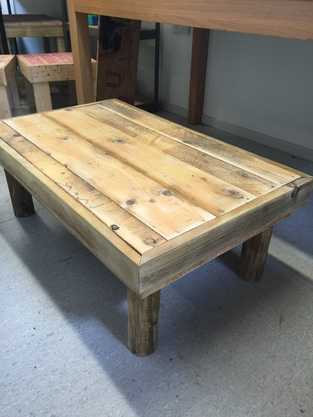Pallet Coffee Table105cm x 70 cm x 38 high £65: Varnished then sanded to make a lovely smooth suface. But can be left plain.