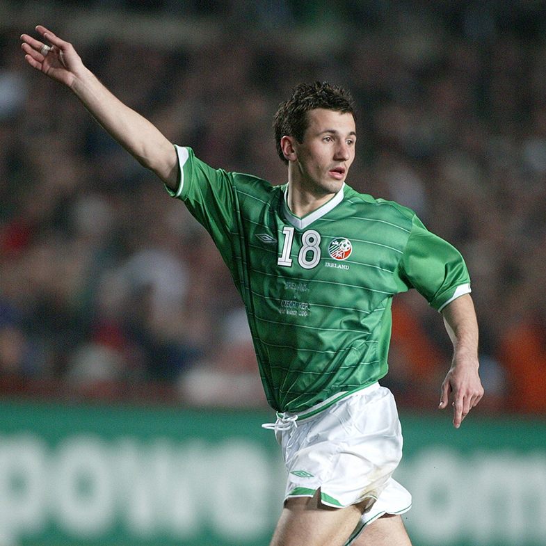 Liam Miller in action for Republic of Ireland v Czech Republic, 2004
