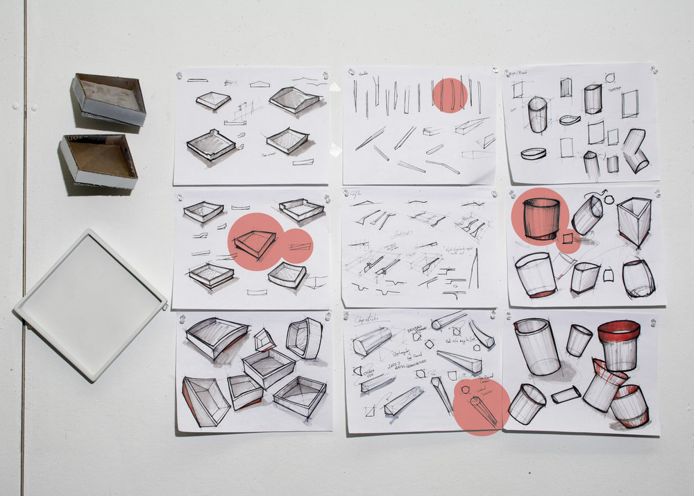 Sketching and Form Ideation - A few sketches exploring how the individual parts of Bento would stack and settle.