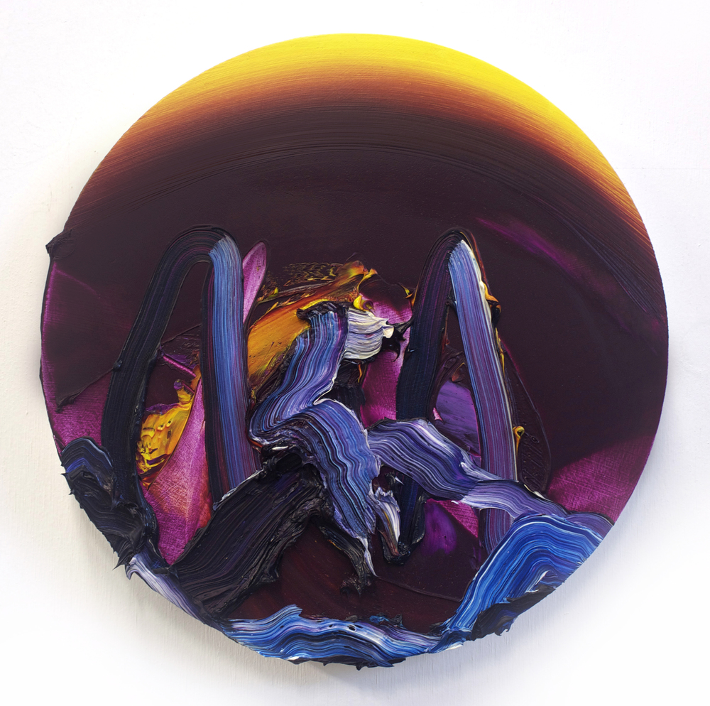 Eclipsed / oil on panel / 10 inch diameter