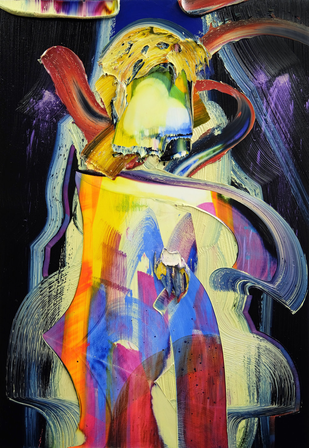Self-Making / oil and acrylic on panel / 45 x 31 inches